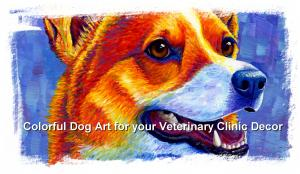 Colorful Expressive Dog Art for your Veterinary Clinic Decor